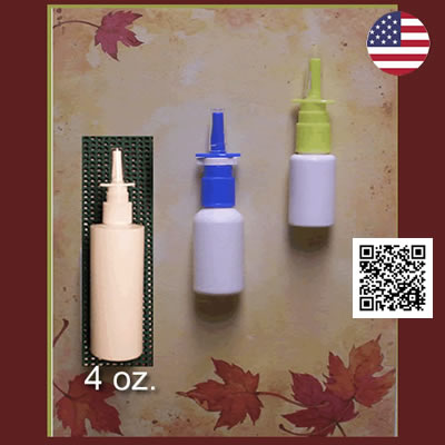 Green & Blue Nasal Spray Pumps with 20 ml & 30 ml White PE bottles