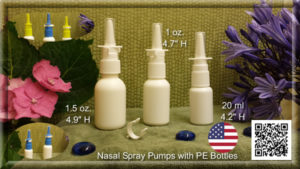 Nasal Spray Pump with EMPTY White PE 20 ml, 1 oz., 1.5 oz. 4 oz. Bottles
