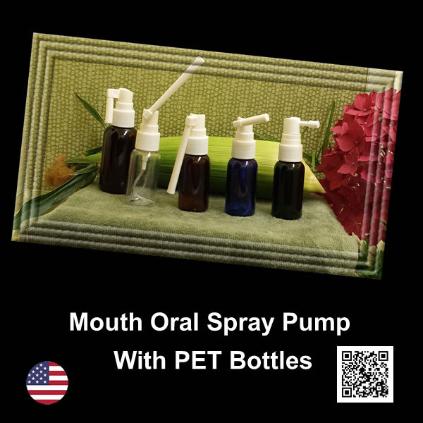 Oral Mouth Spray Pump with EMPTY PET 1 oz. & 2 oz. Bottles