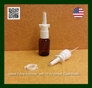 White Nasal Spray Pump with EMPTY 15 ml Amber Glass Bottles