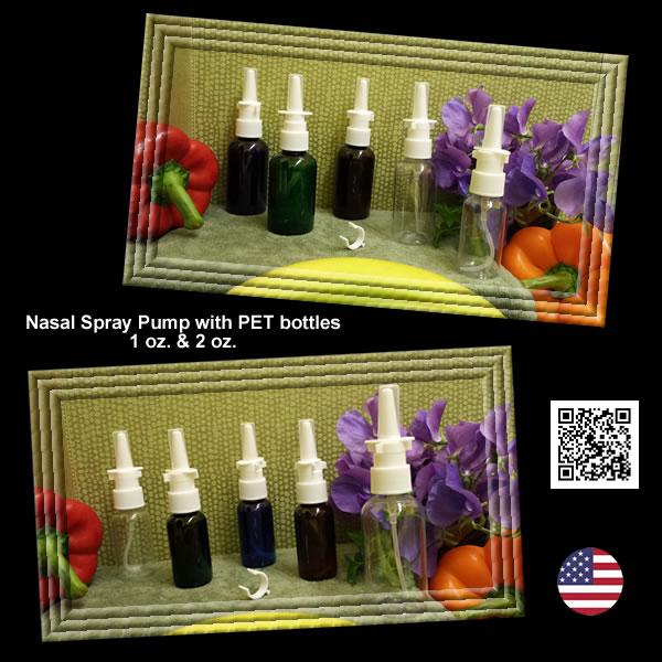 Nasal Spray Pump with 1 oz. & 2 oz. Amber, Blue, Clear, Green EMPTY PET Bottles