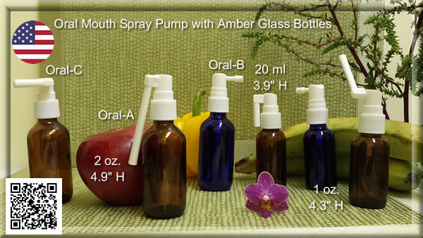 Oral Mouth Spray Pumps with 1 oz. & 2 oz. Amber & Cobalt Blue Glass Bottles