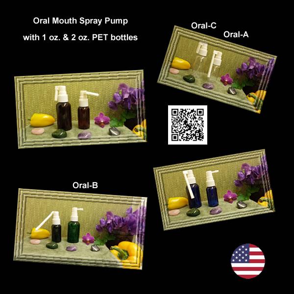 Oral Mouth Spray Pumps with 1 oz. & 2 oz. PET Bottles