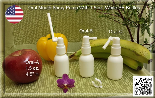 Oral Mouth Spray Pumps with 1 oz. & 2 oz. PET Bottles