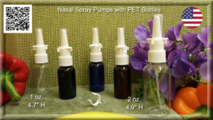 Nasal Spray Pump with EMPTY PET 1 oz. & 2 oz. Amber, Blue, Clear, Green Bottles