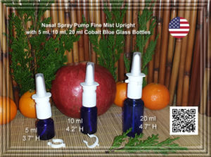 Nasal Spray Pump Blue Glass bottles 5 ml, 10 ml